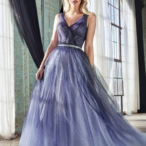 NAVY GLITTER OMBRE LAYERED BALL GOWN CDCB053